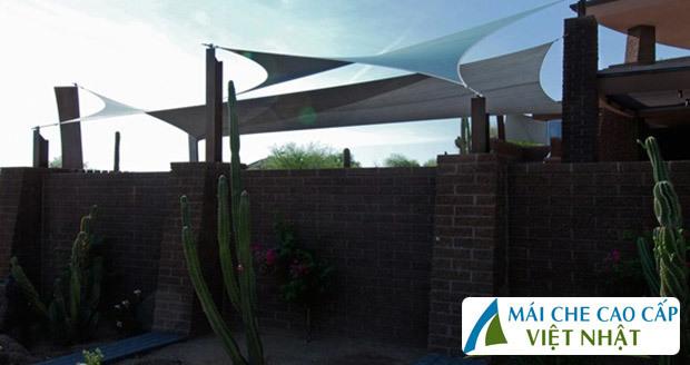 Mái che sân vườn, mái bạt căng, mái căng, bạt dây căng, Znet, Ferarri, Sunbrella, Docril, Sunless