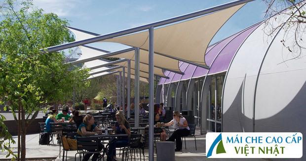 Mái che nhà hàng, mái bạt căng, mái căng, bạt dây căng, Znet, Ferarri, Sunbrella, Docril, Sunless