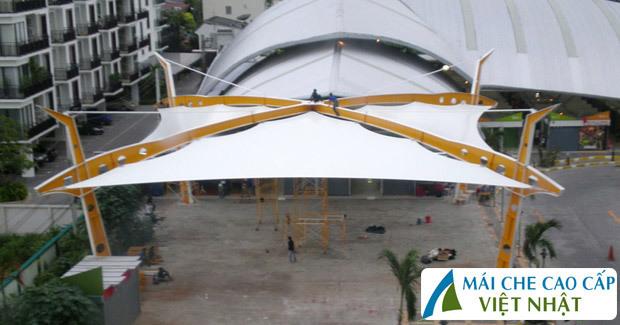 mái che quảng trường, mái bạt căng, mái căng, bạt dây căng, Znet, Ferarri, Sunbrella, Docril, Sunless