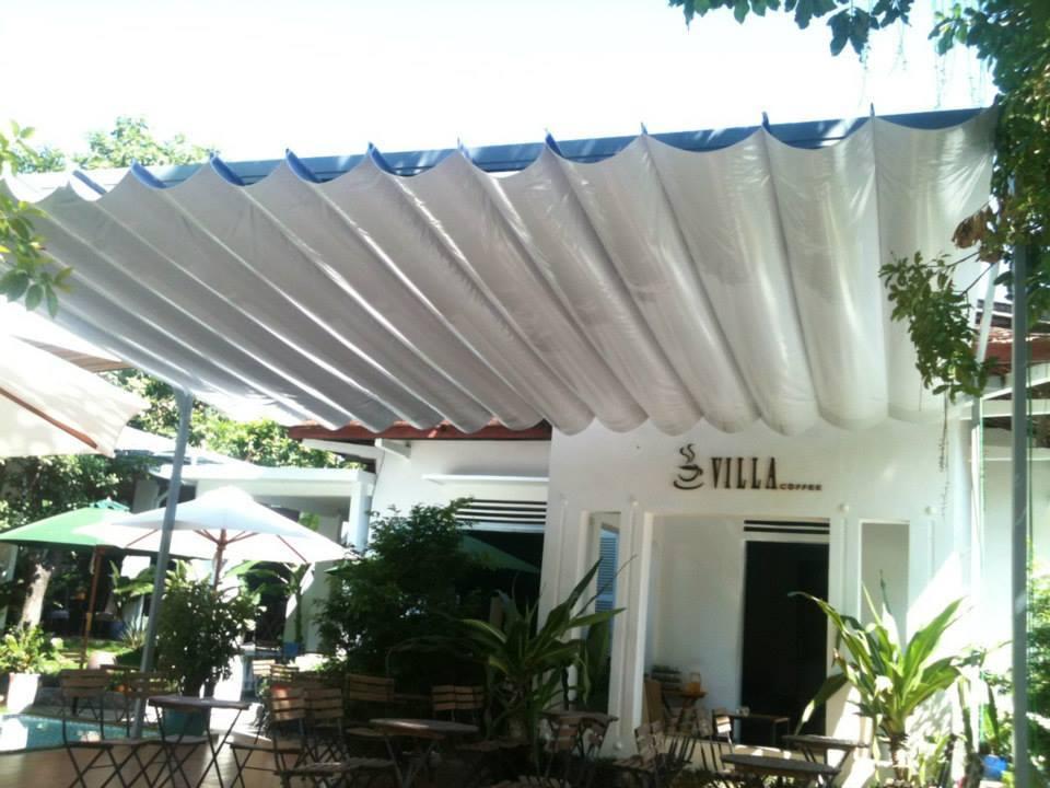 Mái che mái xếp gợn sóng, mái bạt căng, mái căng, bạt dây căng, Znet, Ferarri, Sunbrella, Docril, Sunless